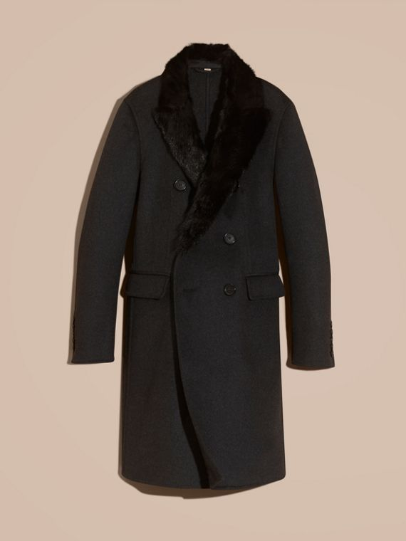 Dark charcoal melange Double Splittable Wool Top Coat with Fur Collar - cell image 3
