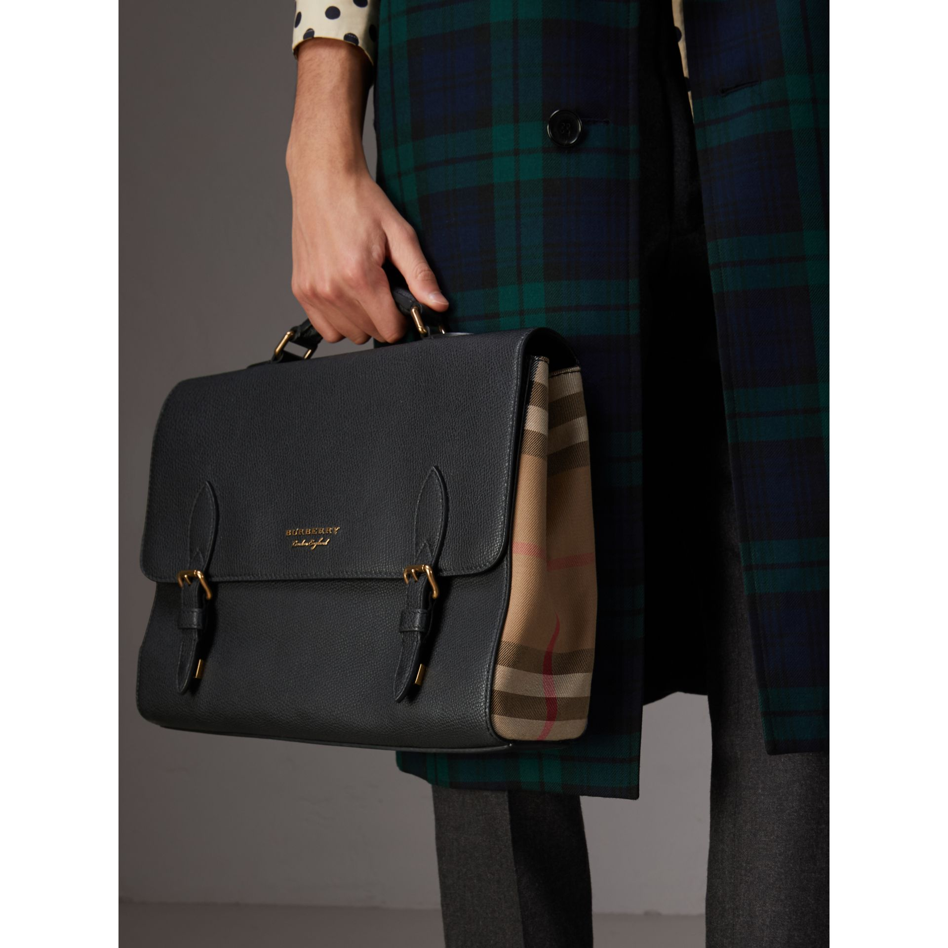 Leather and House Check Satchel in Black - Men | Burberry - gallery image 3