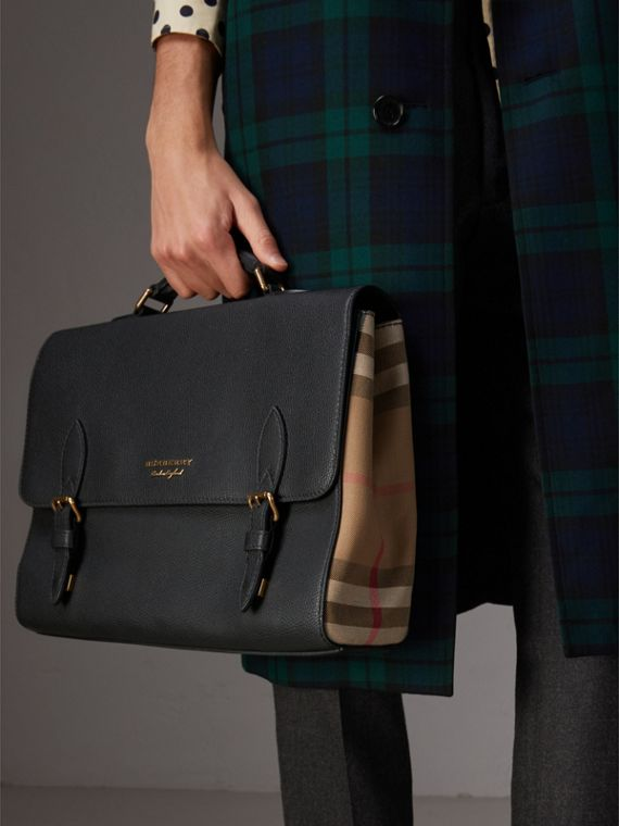 Leather and House Check Satchel in Black - Men | Burberry - cell image 3
