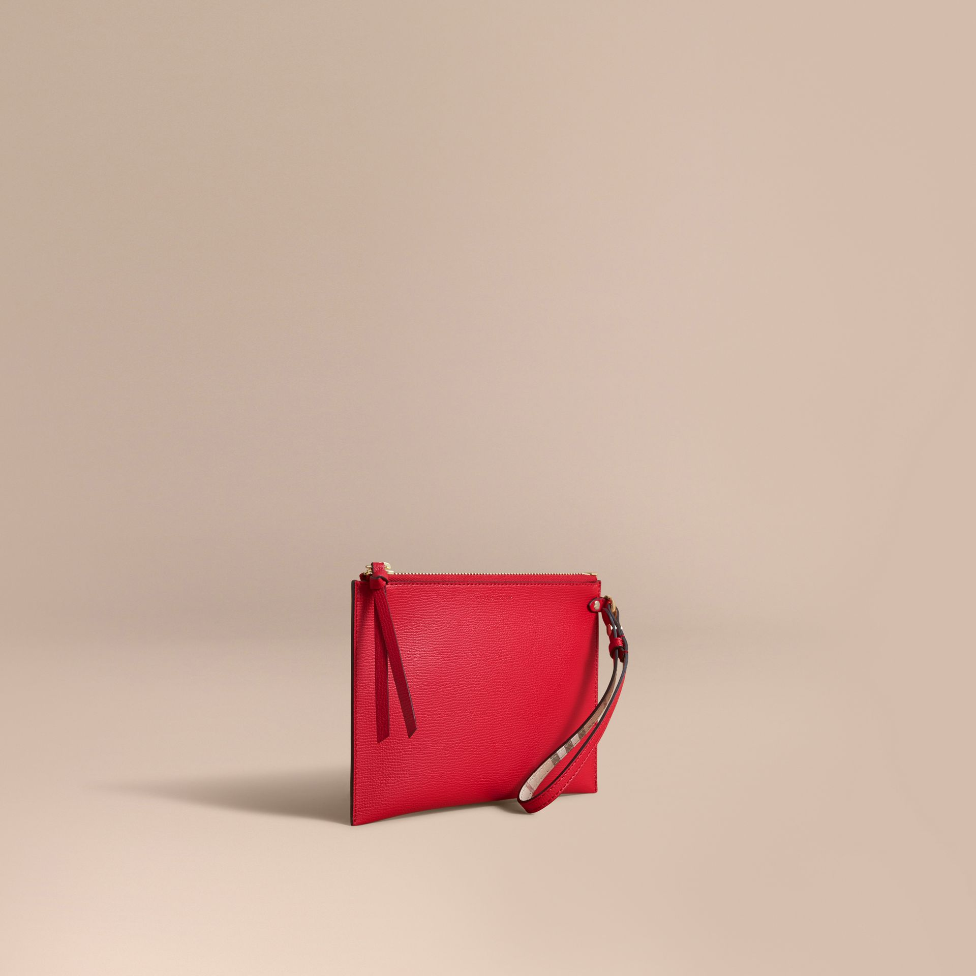 Haymarket Check and Leather Pouch in Poppy Red - Women | Burberry Canada - gallery image 1