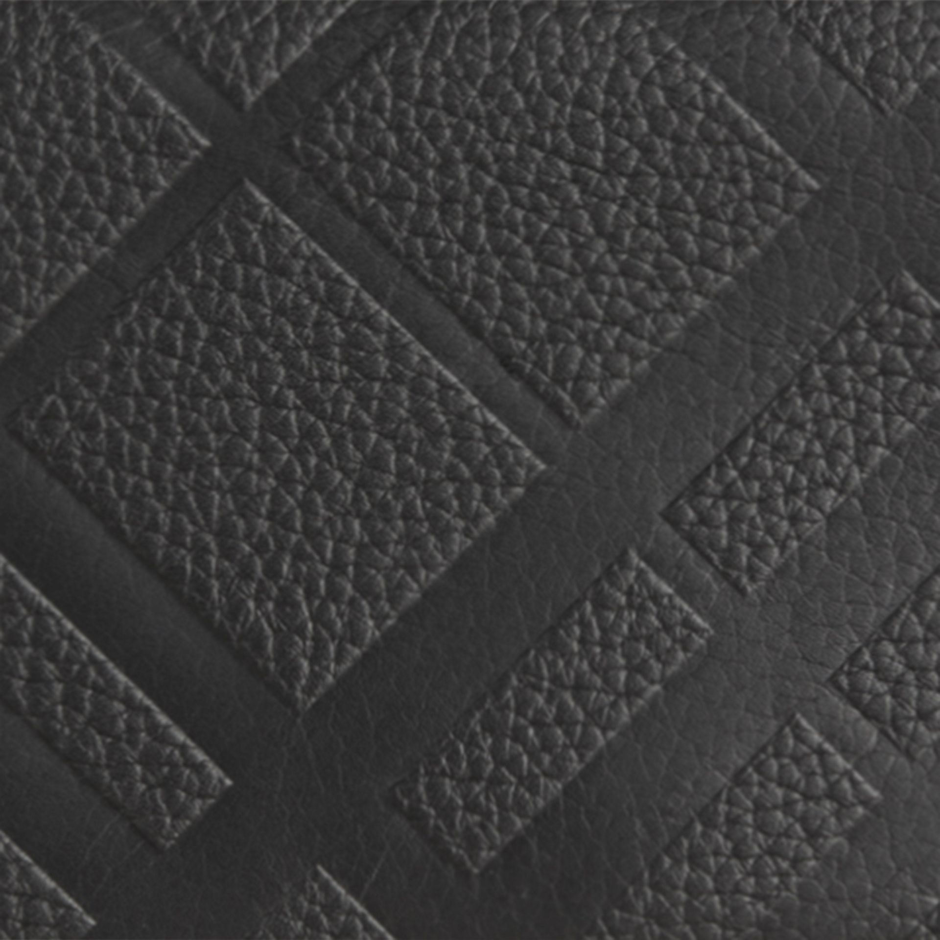 Black Embossed Check Leather Continental Wallet Black - gallery image 2