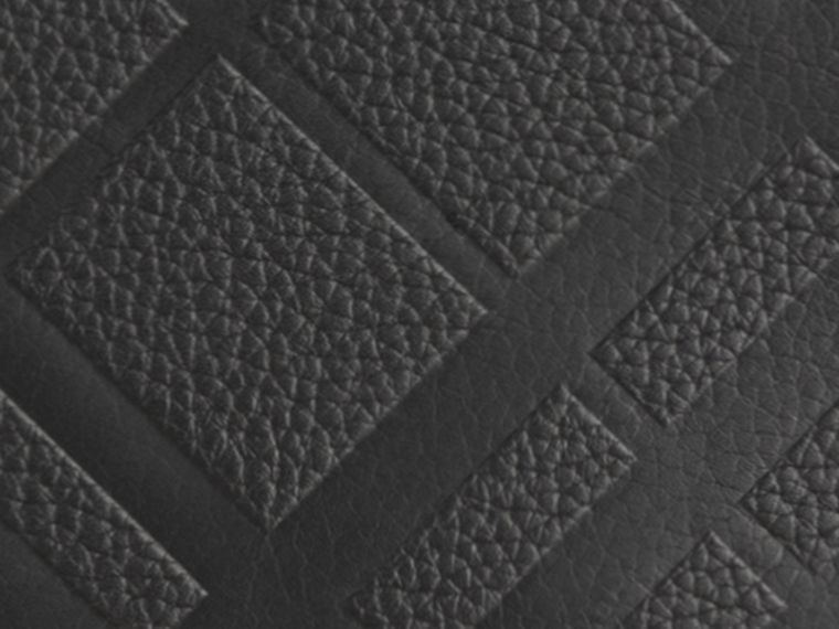 Black Embossed Check Leather Continental Wallet Black - cell image 1