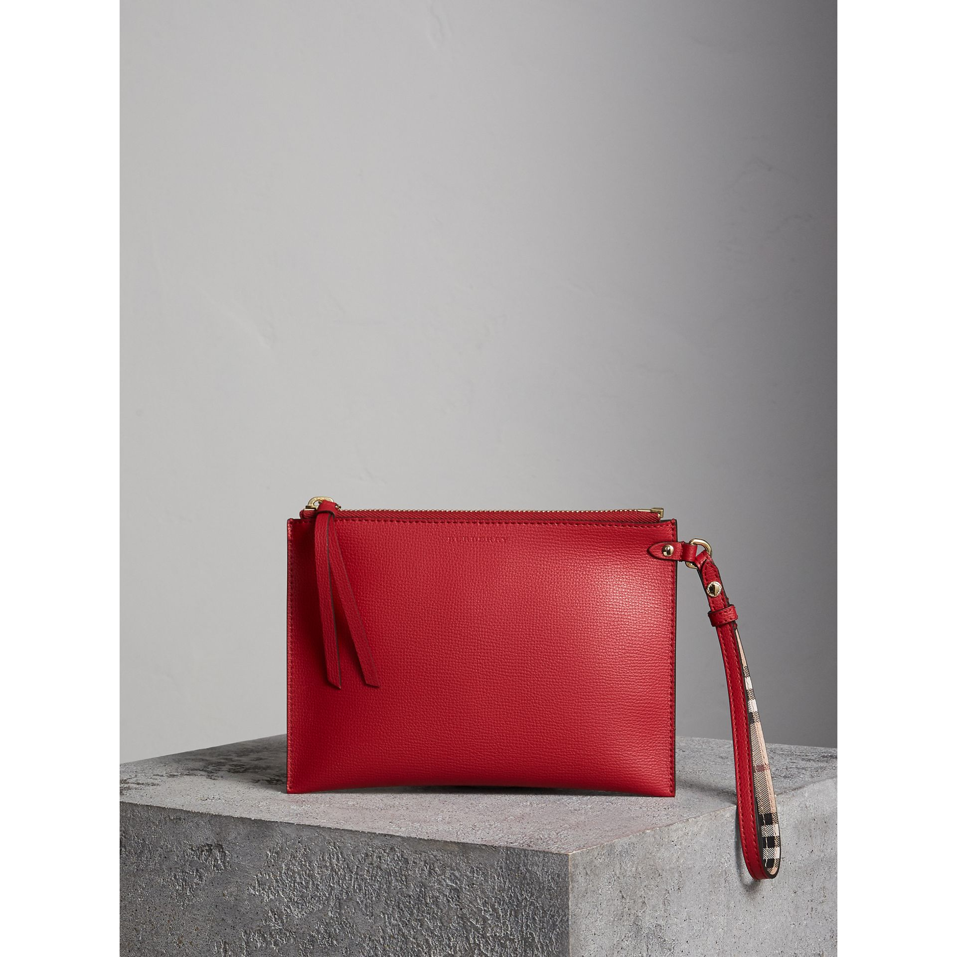 Haymarket Check and Leather Pouch in Poppy Red - Women | Burberry - gallery image 1