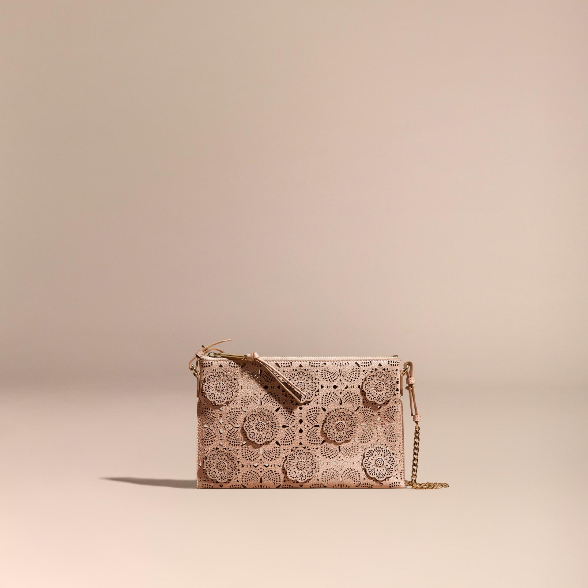 Pale apricot Laser-cut Floral Lace Leather Clutch Bag Pale Apricot - gallery image 8