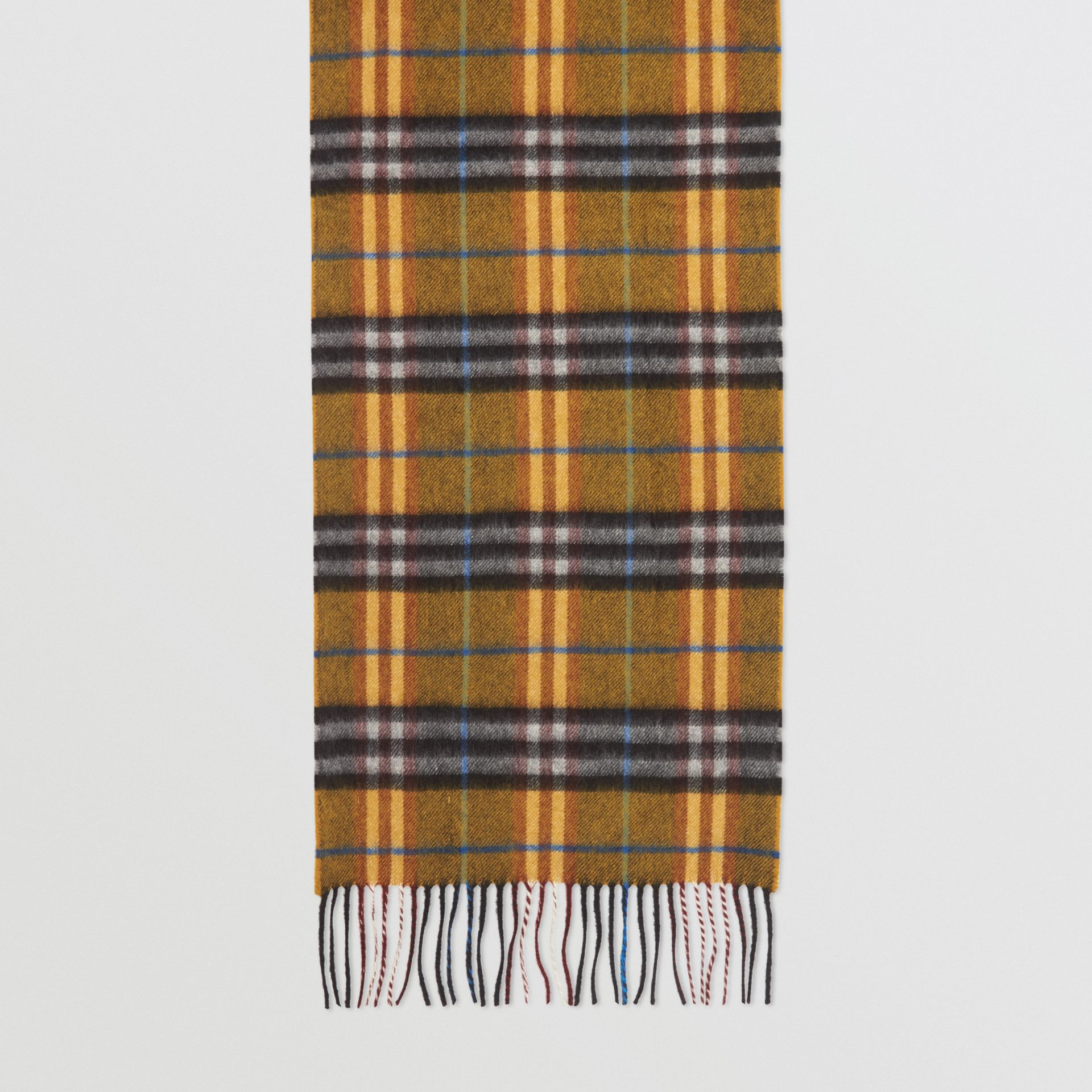 Check Cashmere Scarf in Amber Yellow | Burberry - gallery image 4