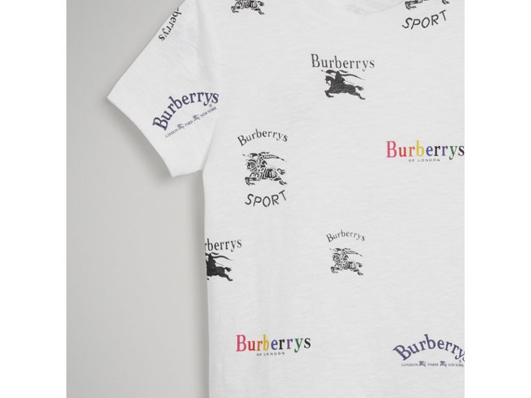 Archive Logo Print Jersey T-shirt in White - Girl | Burberry United Kingdom - cell image 4