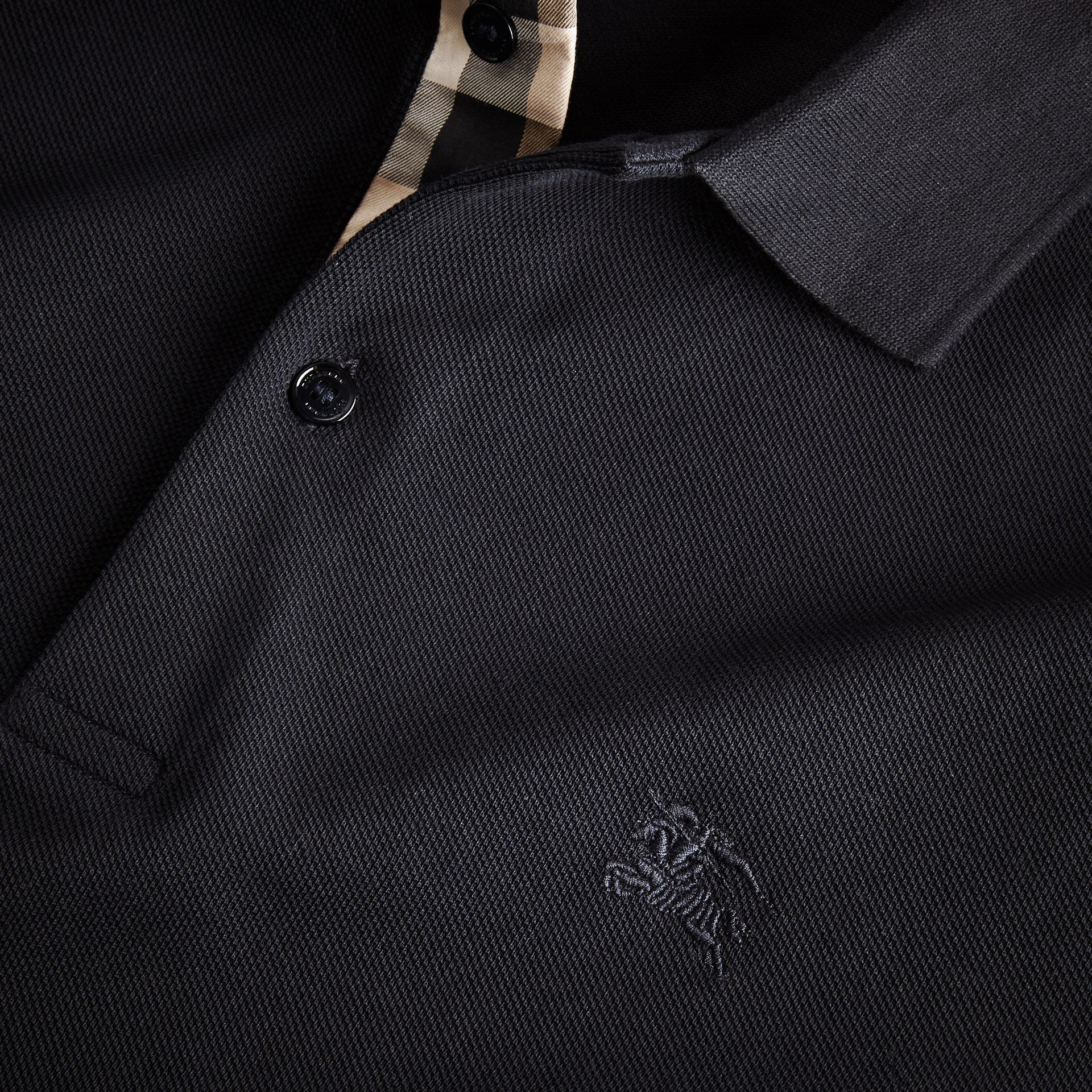 Check Placket Long Sleeve Polo Shirt in Dark Navy - gallery image 2
