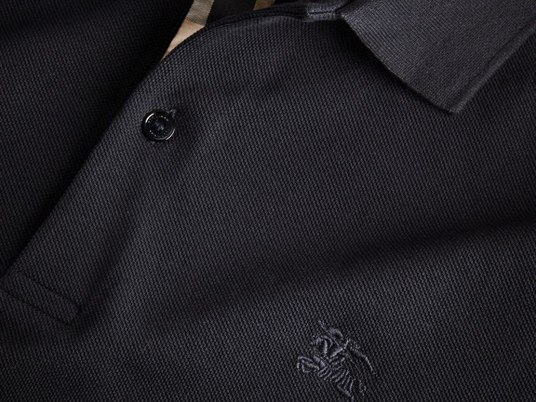 Check Placket Long Sleeve Polo Shirt in Dark Navy - cell image 1