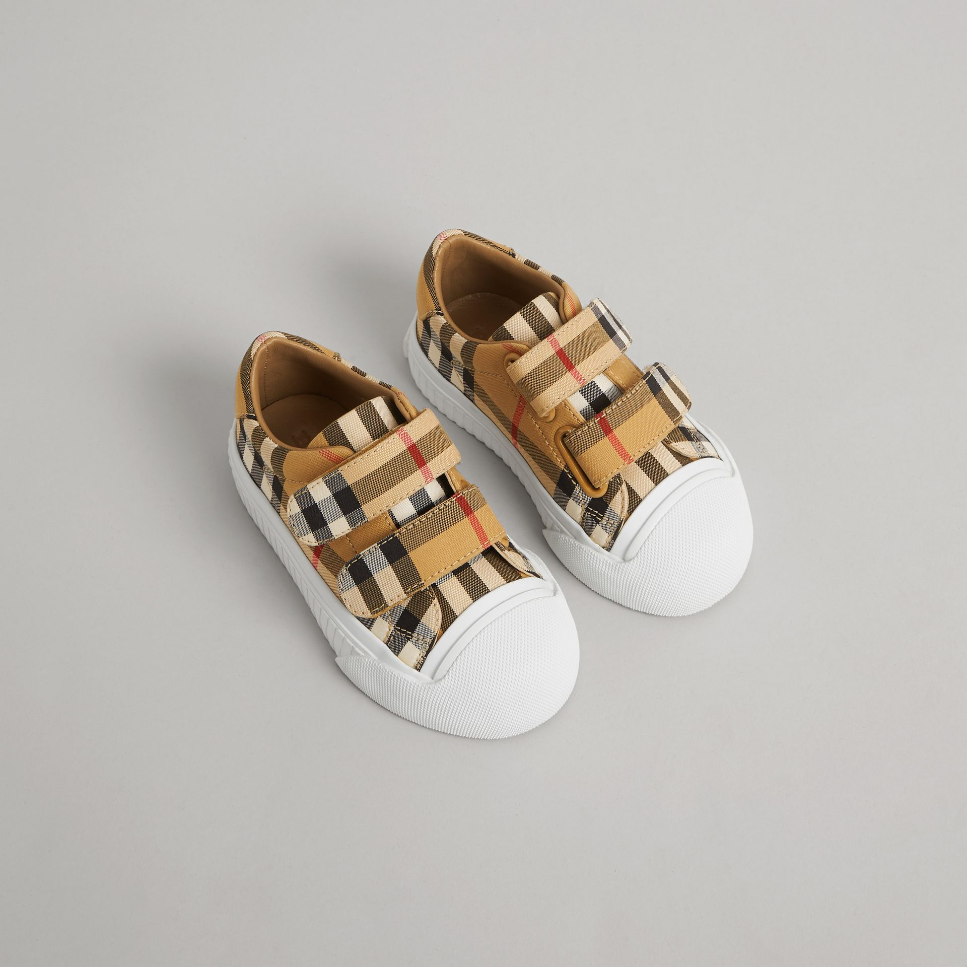 Vintage Check and Leather Sneakers in Optic White/black - Children | Burberry Canada - gallery image 0
