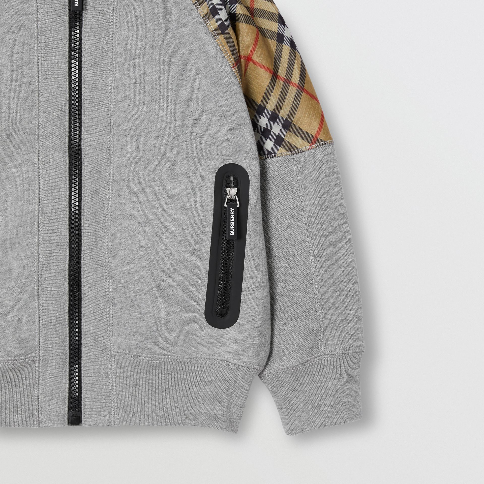 Vintage Check Panel Cotton Hooded Top in Grey Melange | Burberry - gallery image 5