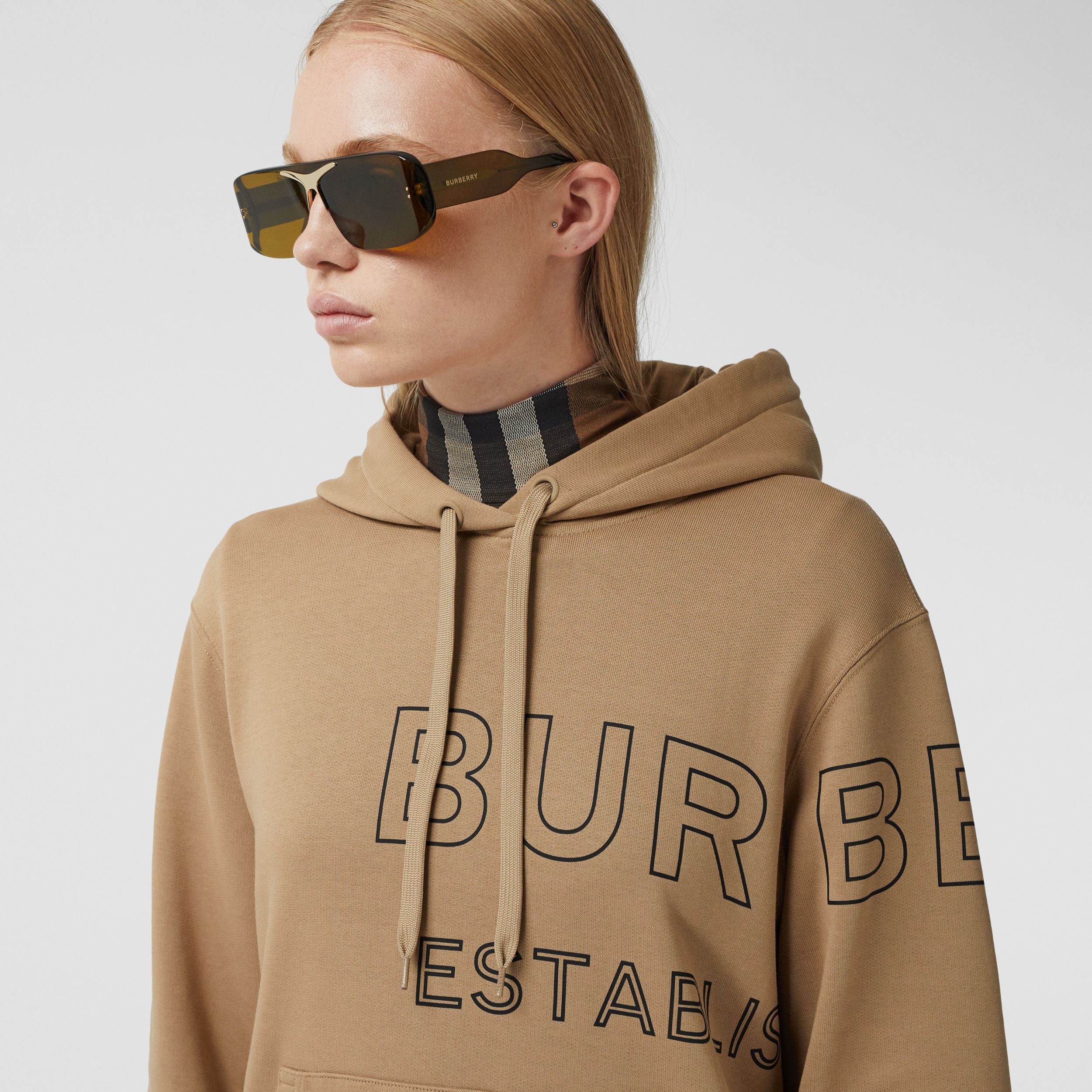 Sweat-shirt à capuche oversize en coton Horseferry (Beige D'archive) - Femme | Burberry - 2