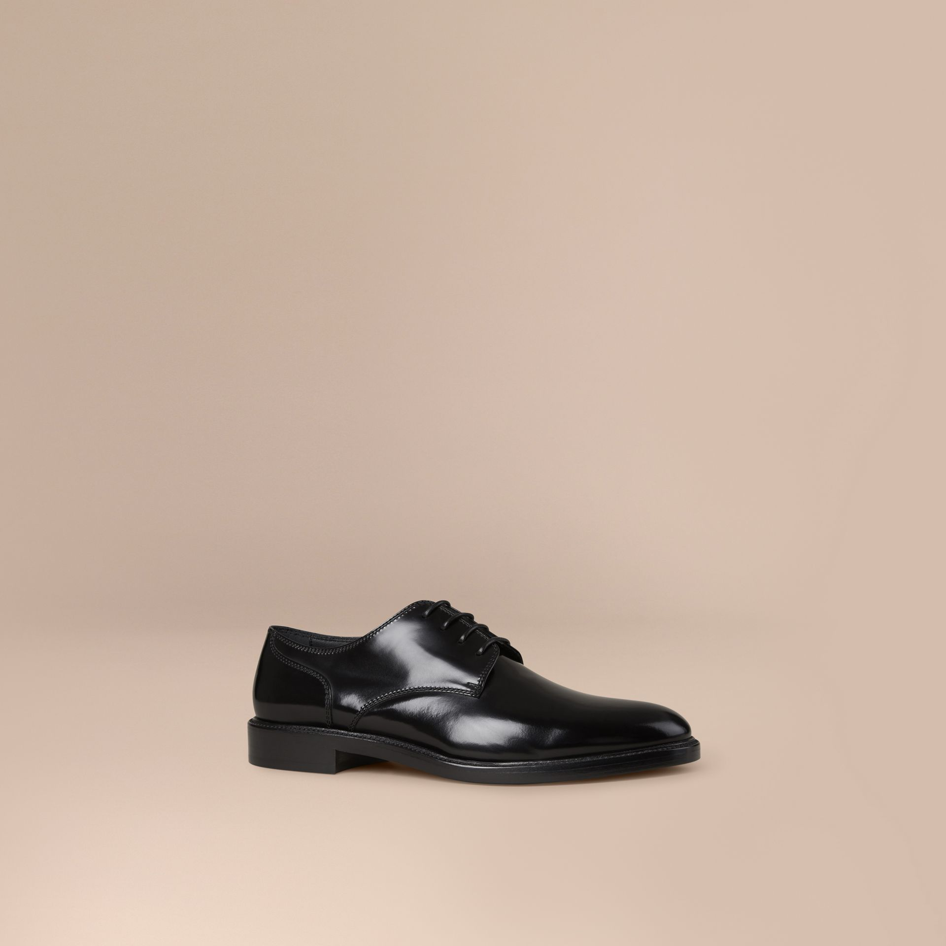 Black Leather Derby Shoes Black - gallery image 1