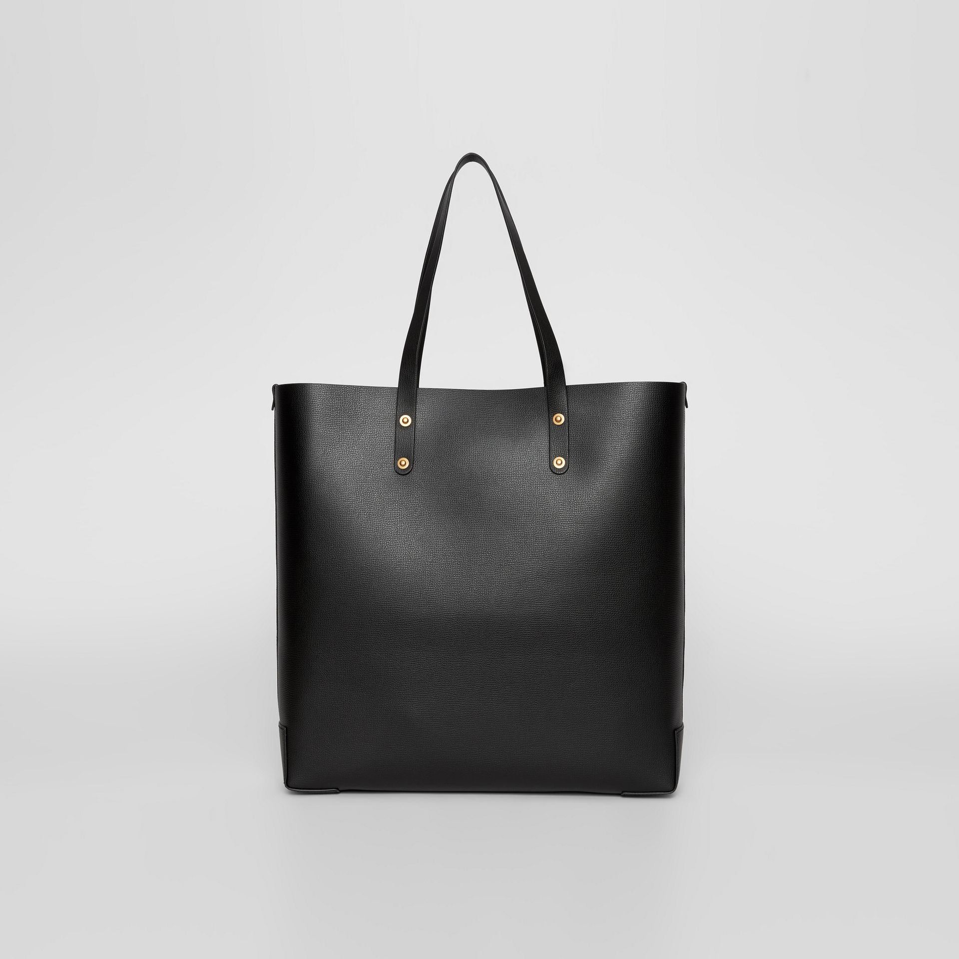 Embossed Crest Leather Tote in Black | Burberry - gallery image 5