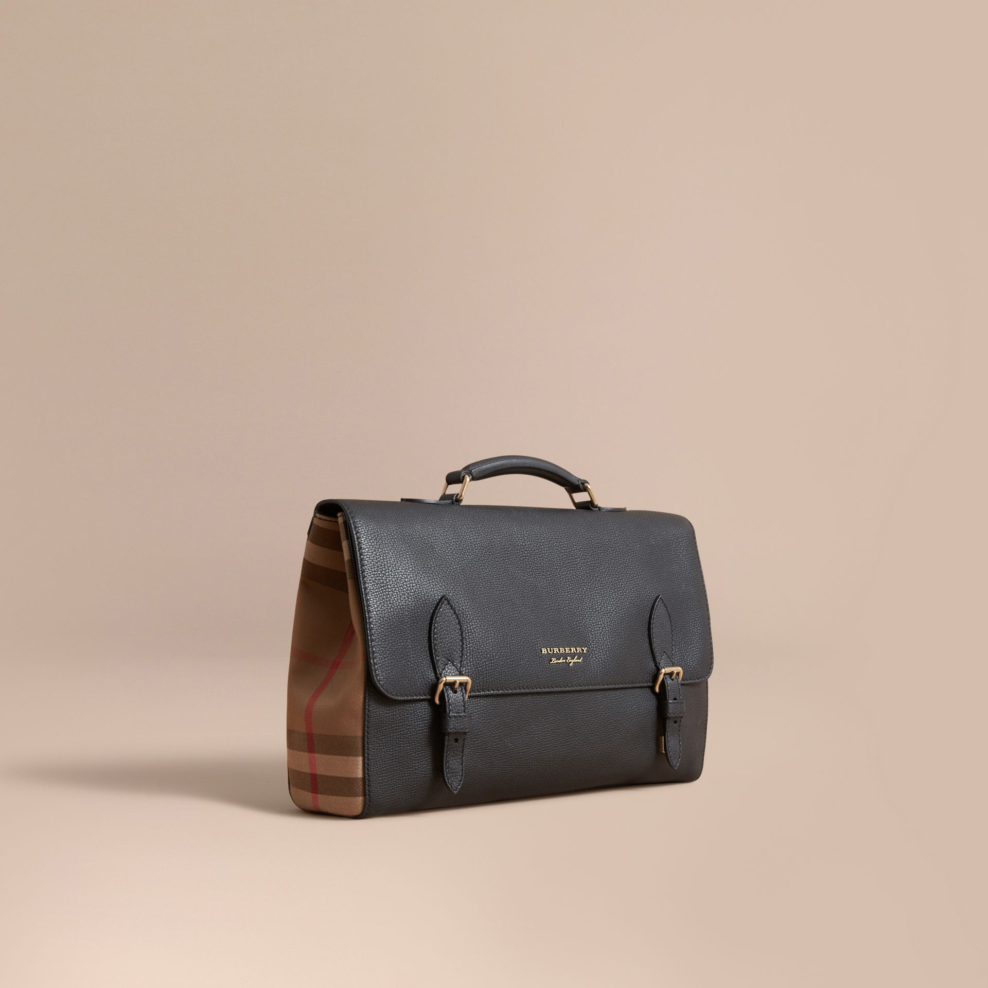 Leather and House Check Satchel in Black - Men | Burberry - gallery image 1
