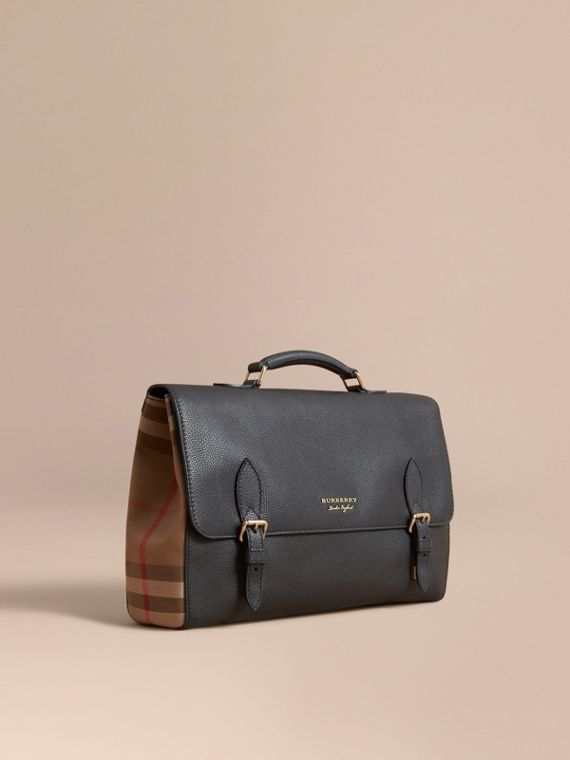 Leather and House Check Satchel Black