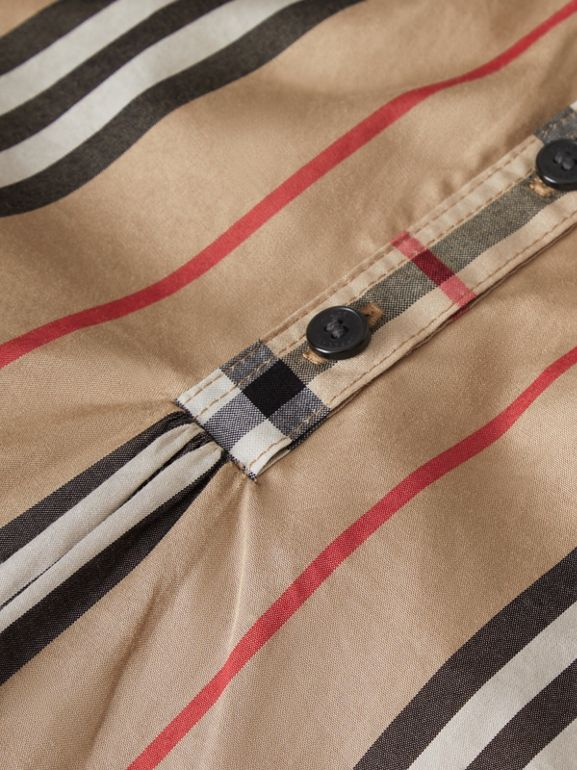 Icon Stripe and Vintage Check Cotton Blouse in Archive Beige | Burberry Australia - cell image 1