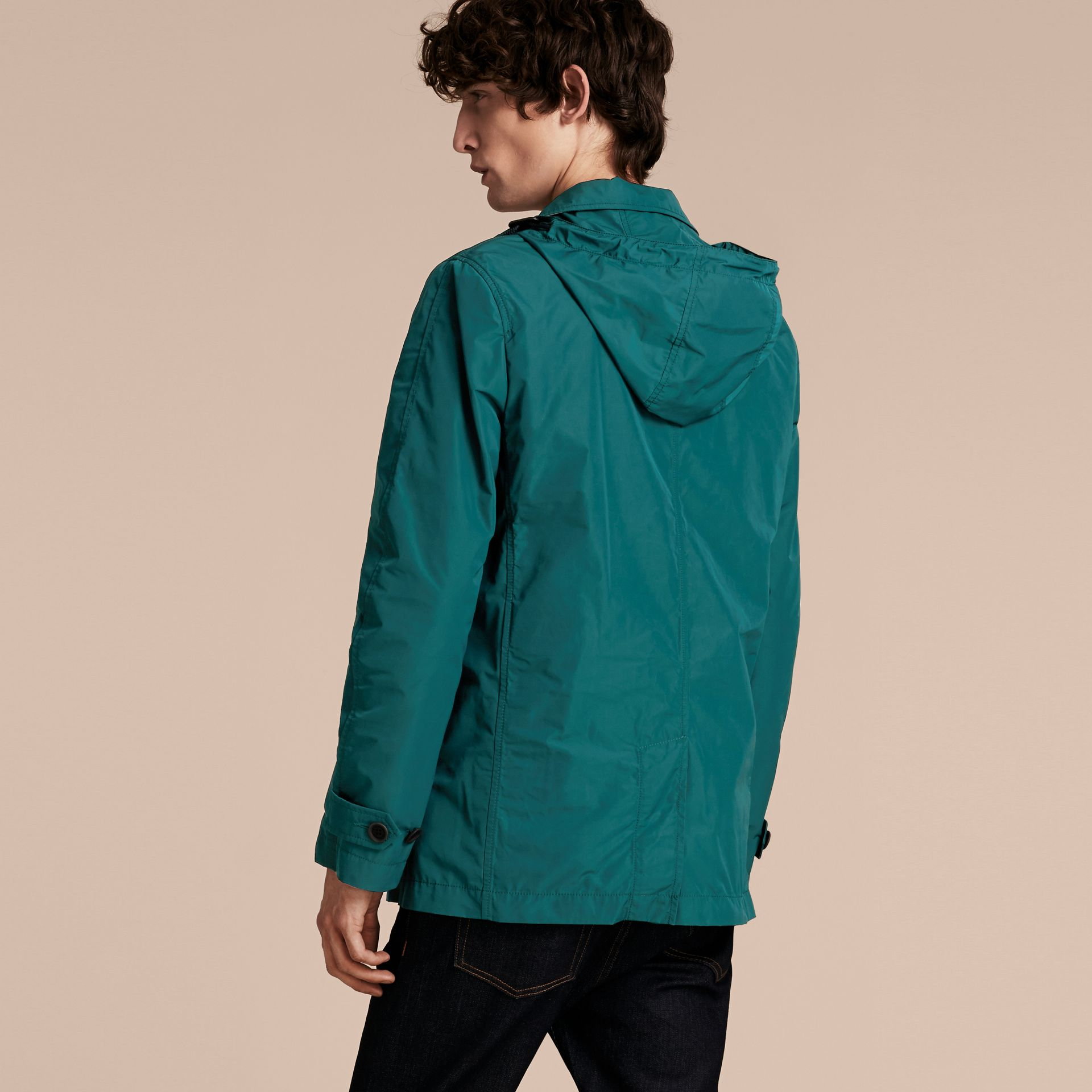 Showerproof Hooded Coat with Removable Warmer Bright Teal - gallery image 3