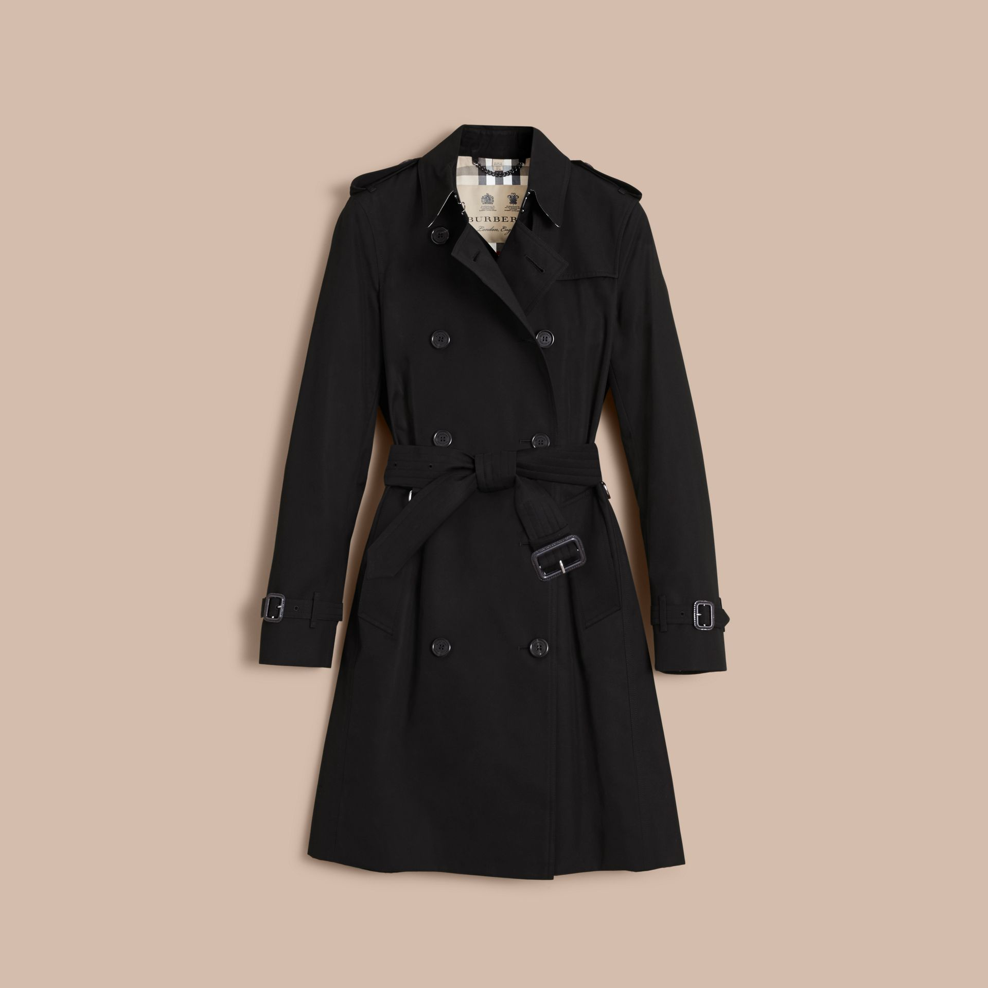 the kensington langer heritage trenchcoat schwarz damen burberry. Black Bedroom Furniture Sets. Home Design Ideas