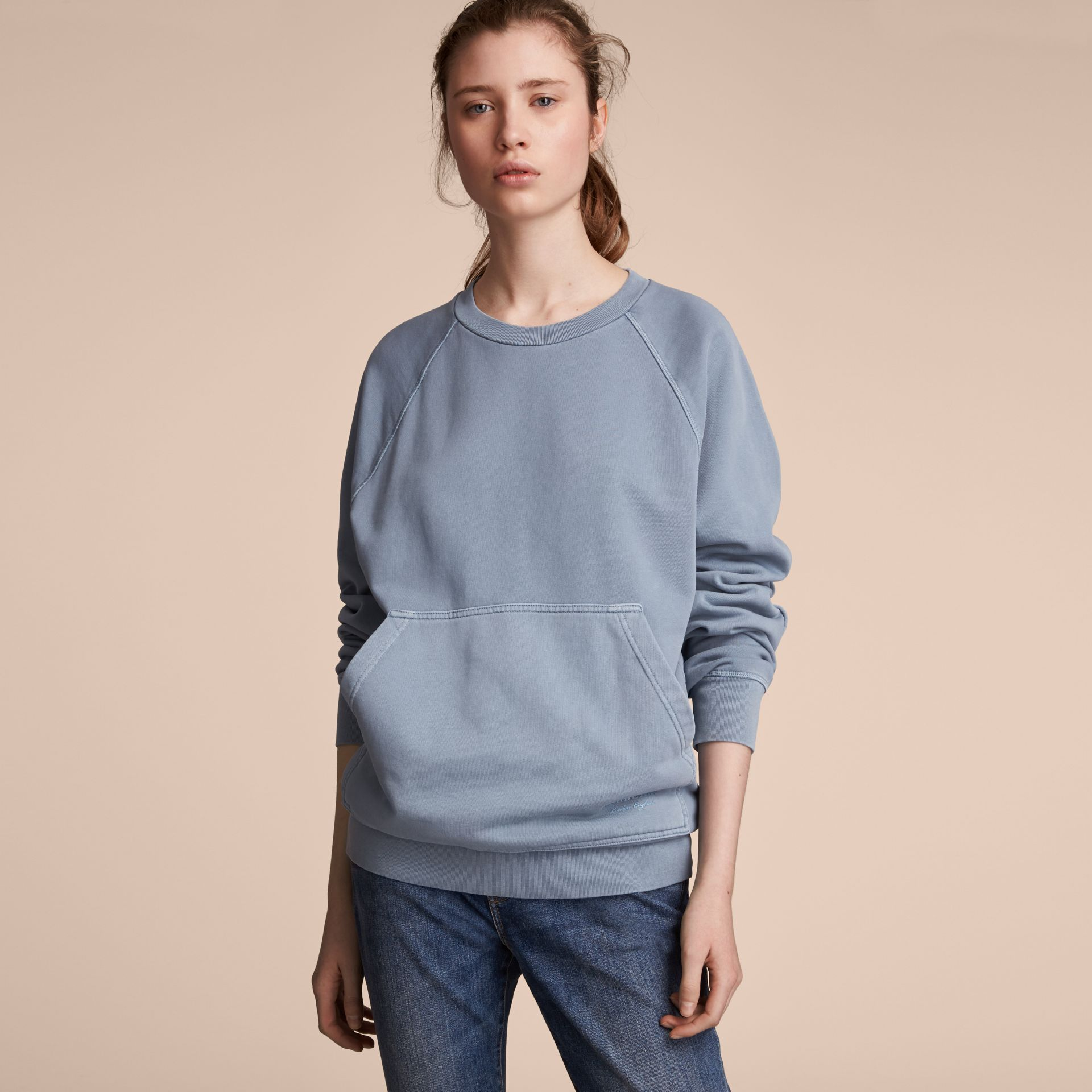 Unisex Pigment-dyed Cotton Oversize Sweatshirt in Dusty Blue - Women | Burberry Australia - gallery image 6