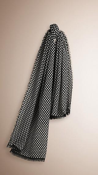 Polka Dot Print Cotton Cashmere Scarf