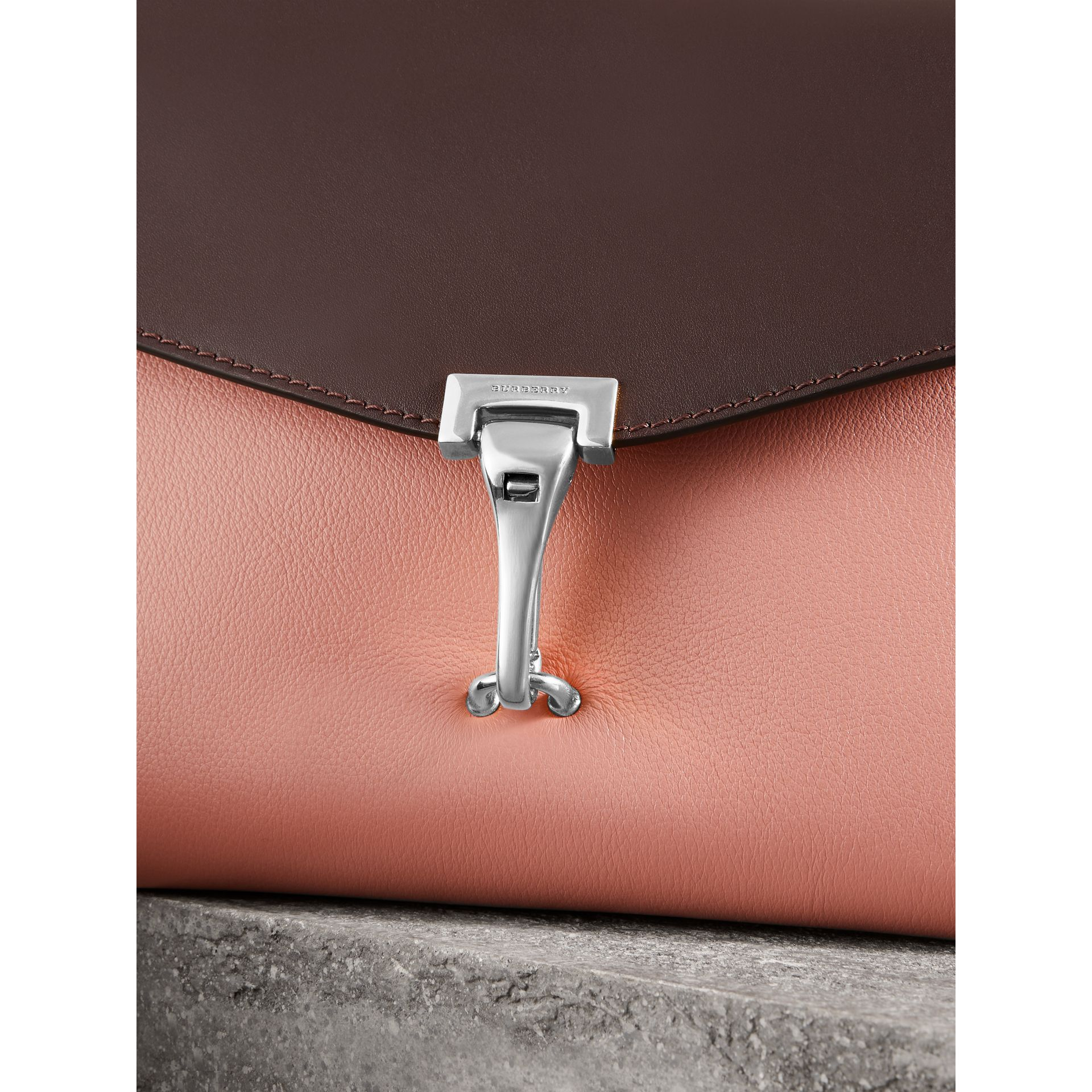 Two-tone Leather Crossbody Bag in Dusty Rose/deep Claret - Women | Burberry United Kingdom - gallery image 1