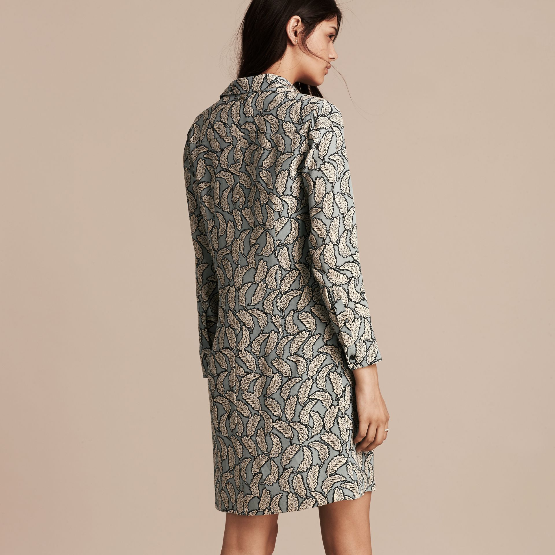 Stone blue Leaf Print Silk Shirt Dress - gallery image 3