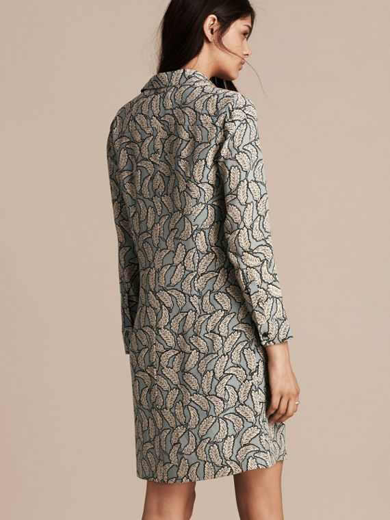 Stone blue Leaf Print Silk Shirt Dress - cell image 2