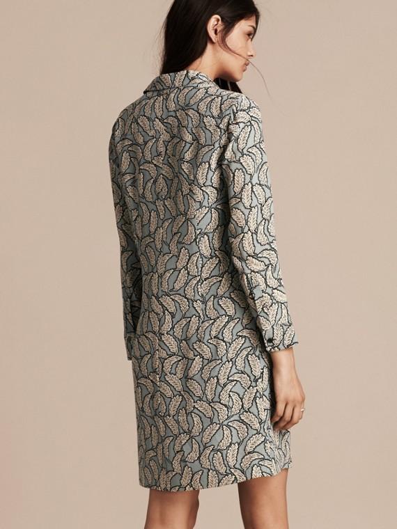 Bleu pierre Robe chemise en soie à imprimé feuillage - cell image 2
