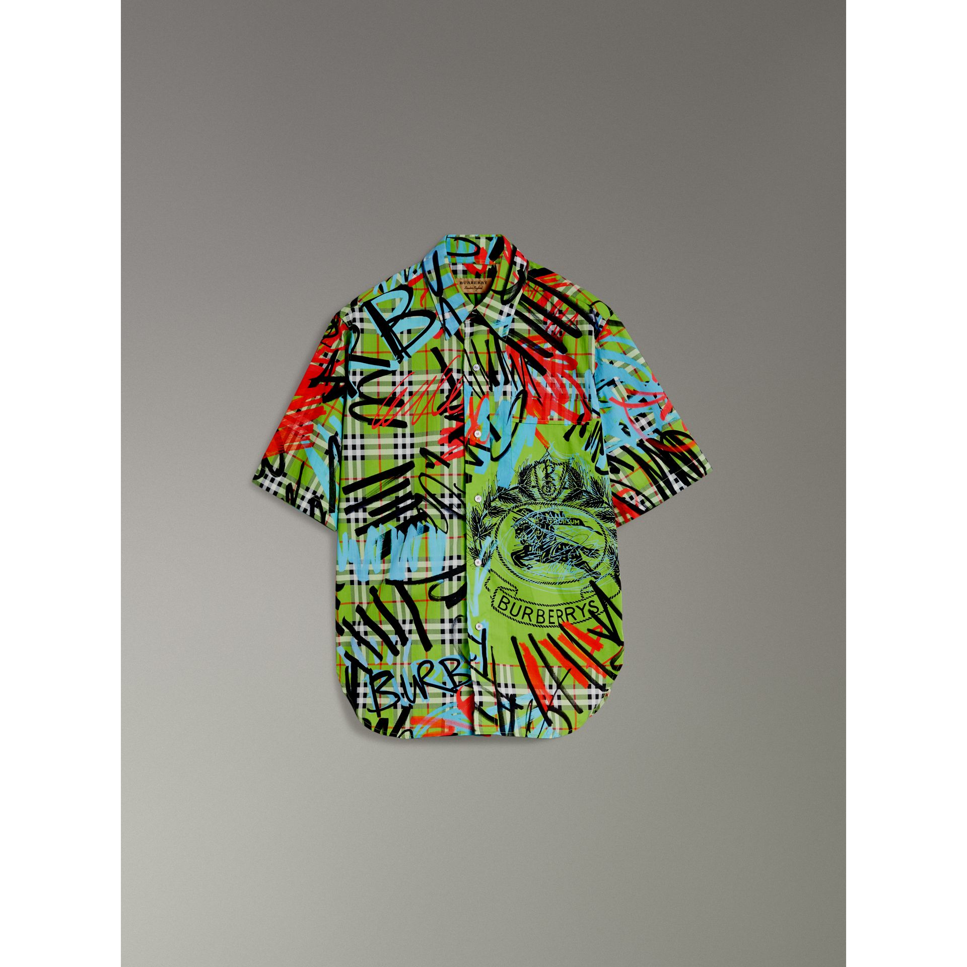 Short-sleeve Graffiti Print Check Cotton Shirt in Bright Green - Men | Burberry Australia - gallery image 3
