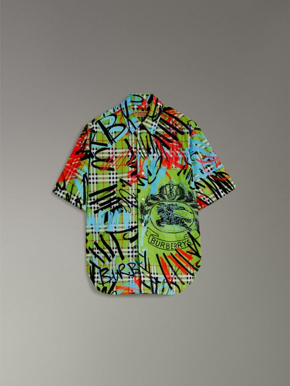 Short-sleeve Graffiti Print Check Cotton Shirt in Bright Green - Men | Burberry - cell image 3