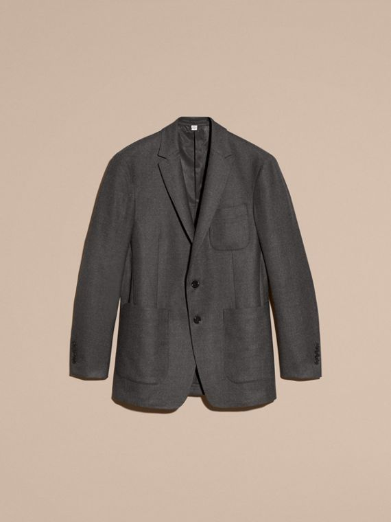 Dark grey melange Modern Fit Tailored Wool Jacket - cell image 3