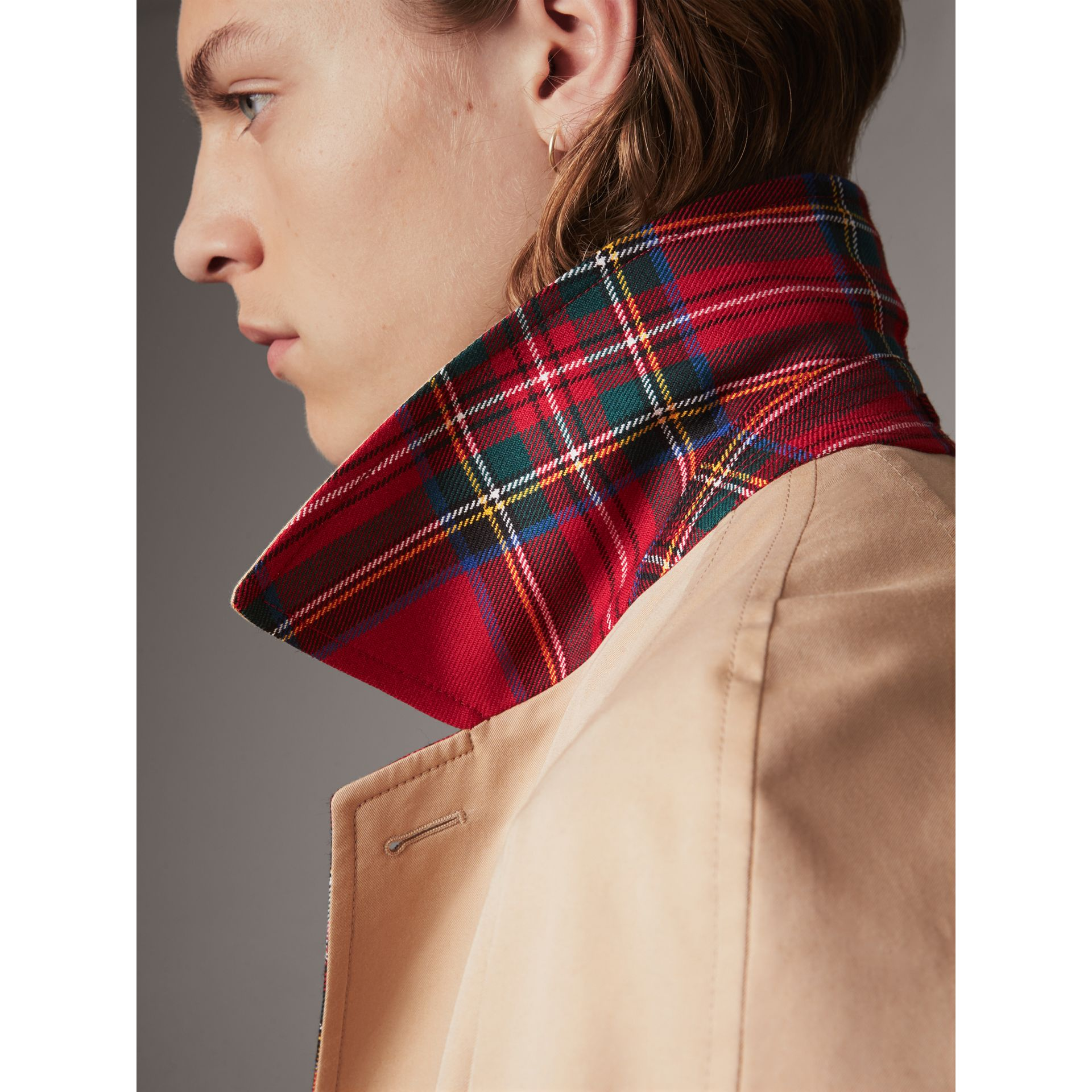 Reversible Gabardine and Tartan Wool Car Coat in Honey/ Red - Men | Burberry - gallery image 1