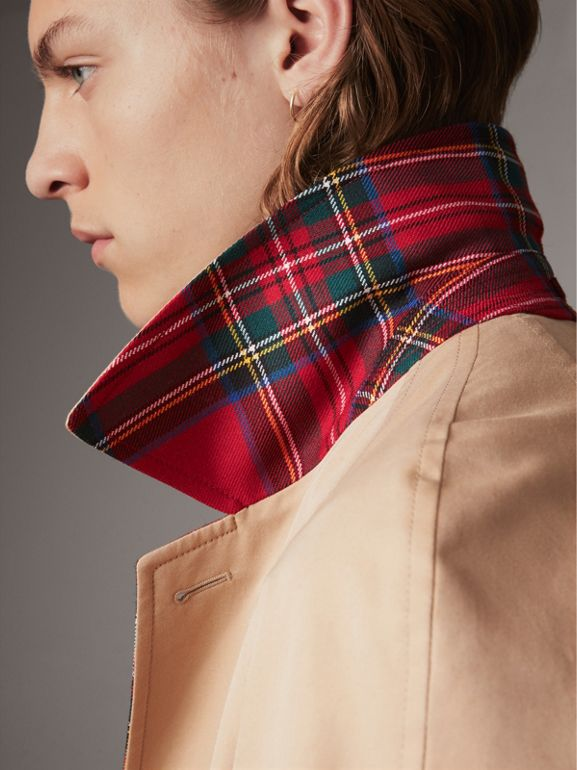Reversible Gabardine and Tartan Wool Car Coat in Honey/ Red - Men | Burberry - cell image 1
