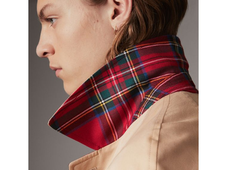 Reversible Gabardine and Tartan Wool Car Coat in Honey/ Red - Men | Burberry United States - cell image 1
