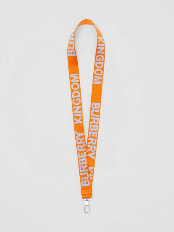Logo Jacquard Lanyard in Baby Blue/bright Orange