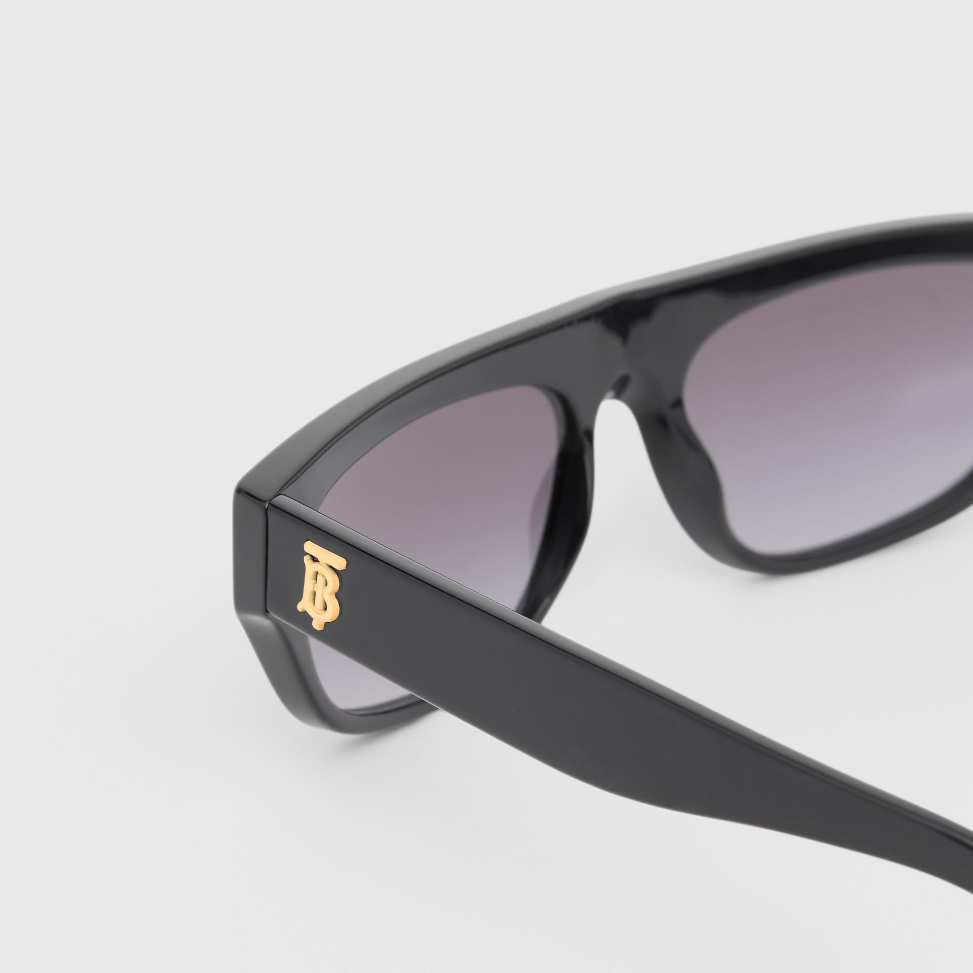 Monogram Motif Rectangular Frame Sunglasses in Black - Women | Burberry - gallery image 1