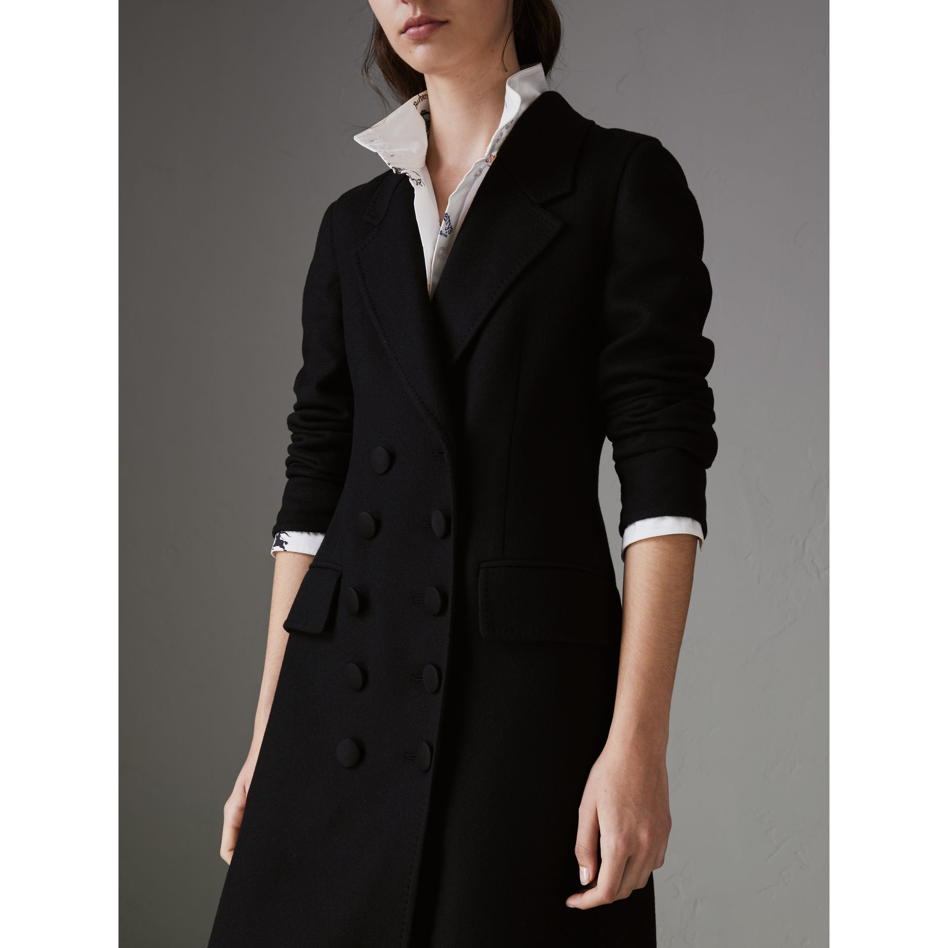 Double-breasted Cashmere Tailored Coat in Black - Women | Burberry Australia - gallery image 1