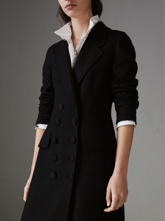 Double-breasted Cashmere Tailored Coat in Black - Women | Burberry Hong Kong - cell image 1