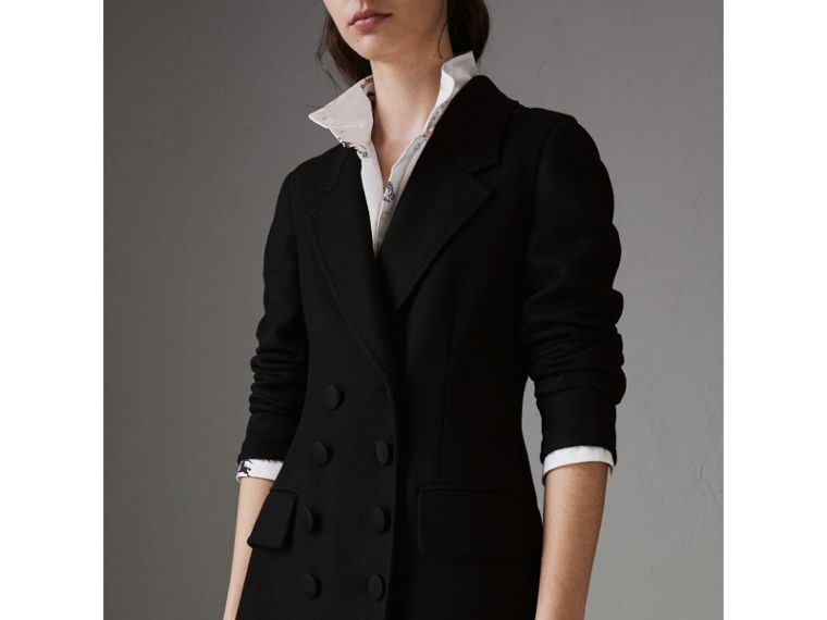 Double-breasted Cashmere Tailored Coat in Black - Women | Burberry United States - cell image 1