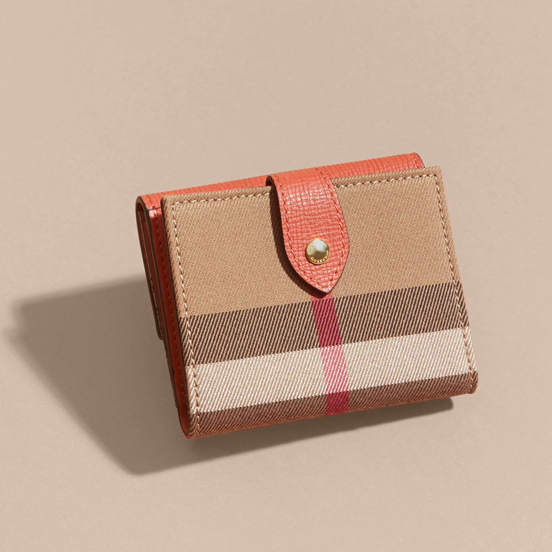 House Check and Leather Wallet in Cinnamon Red - Women | Burberry - gallery image 5