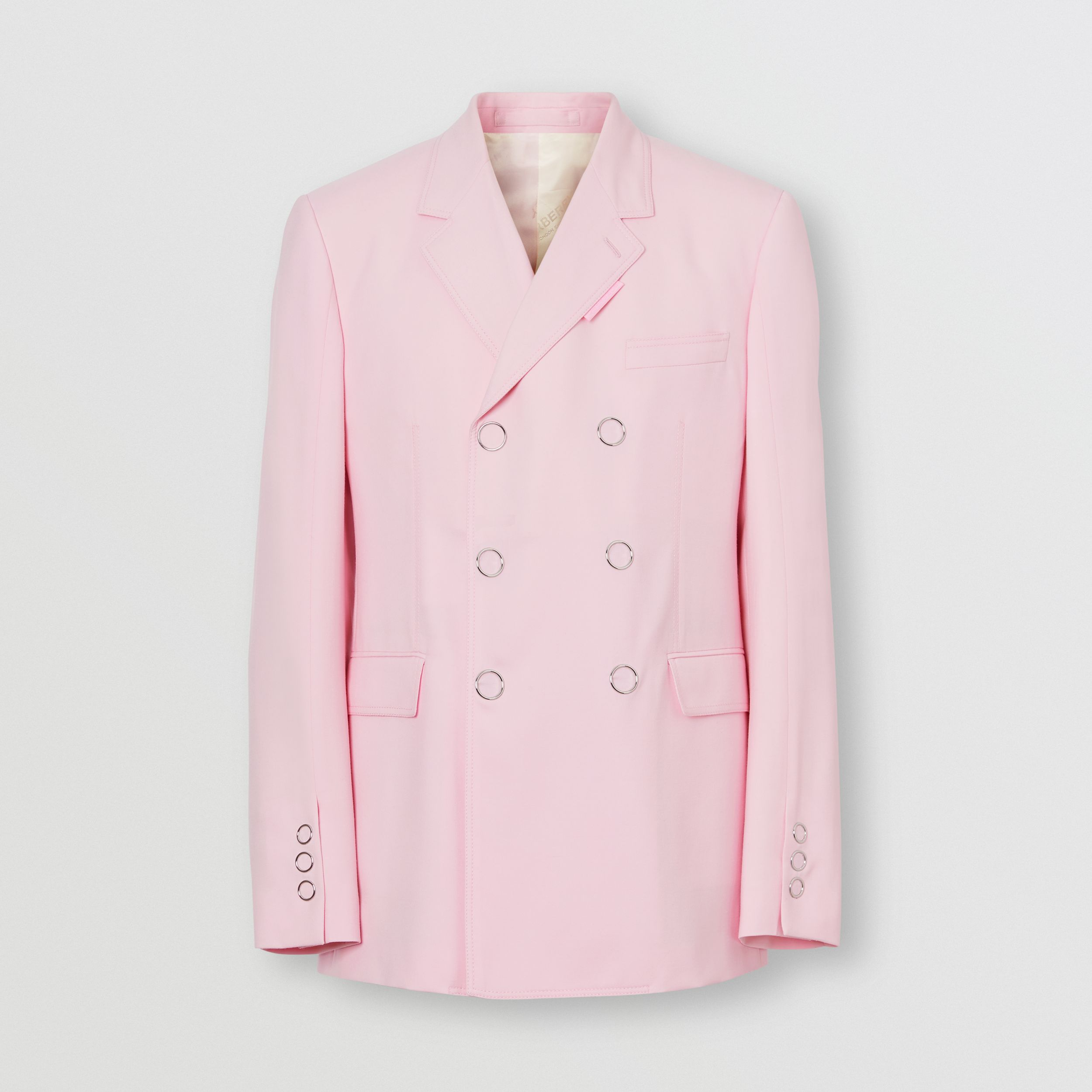 Slim Fit Press-stud Tumbled Wool Tailored Jacket in Candy Pink - Men | Burberry - 4