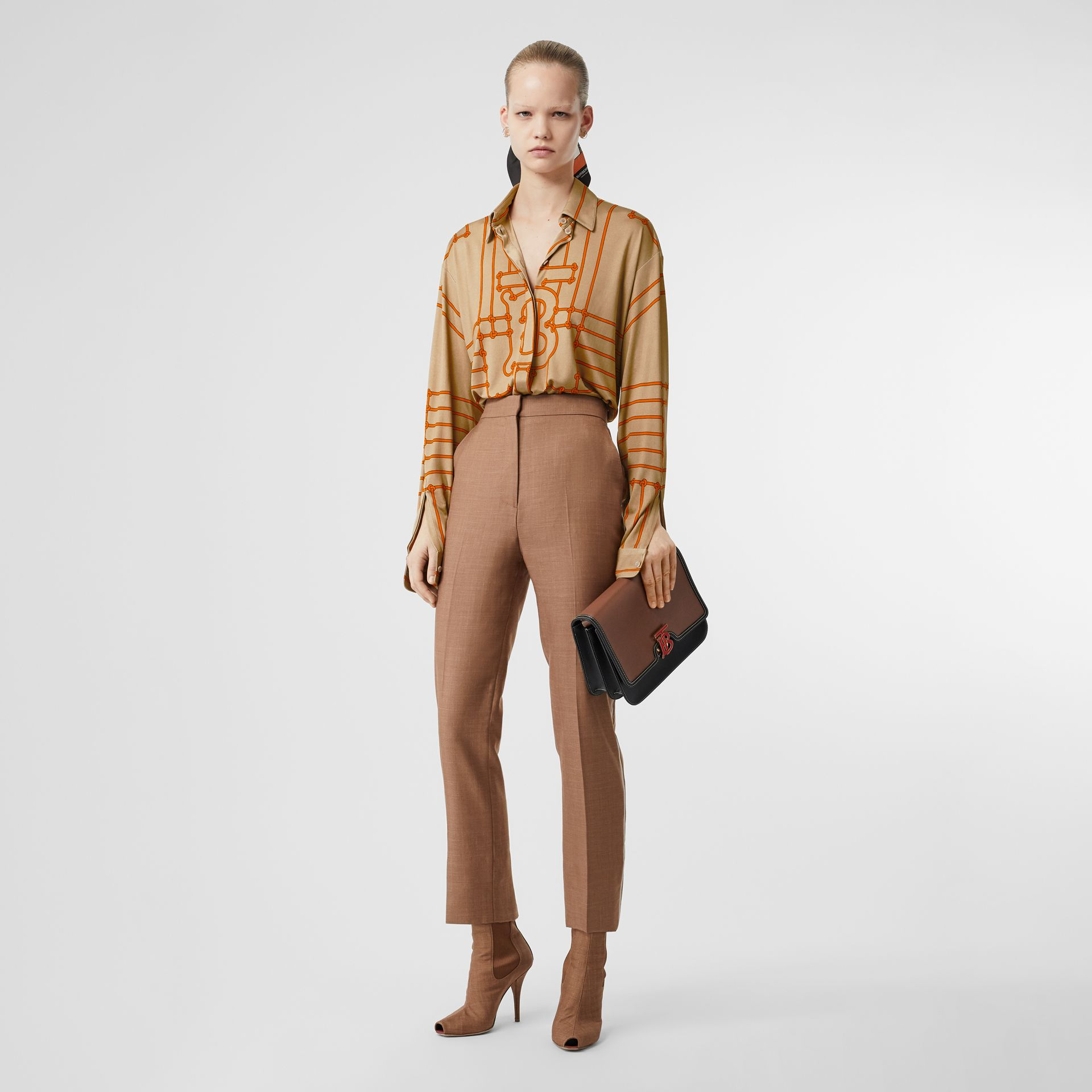 Monogram Motif Rope Print Stretch Silk Shirt in Orange - Women | Burberry - gallery image 0