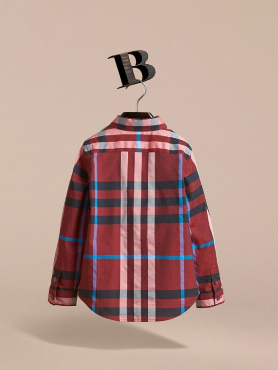 Check Cotton Button-Down Shirt in Carmine Red - Boy | Burberry - cell image 3