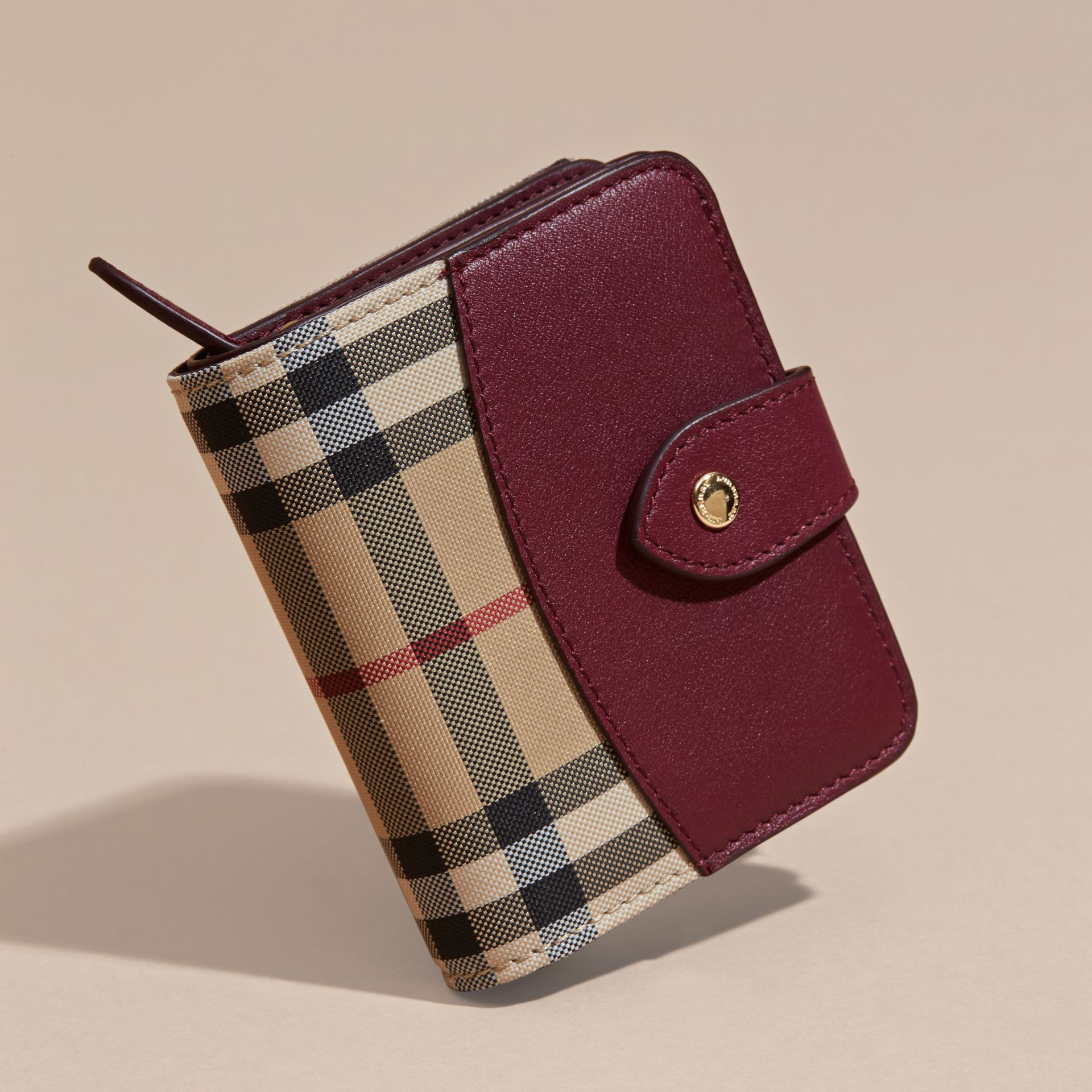 Dark plum Horseferry Check and Leather Wallet Dark Plum - gallery image 3
