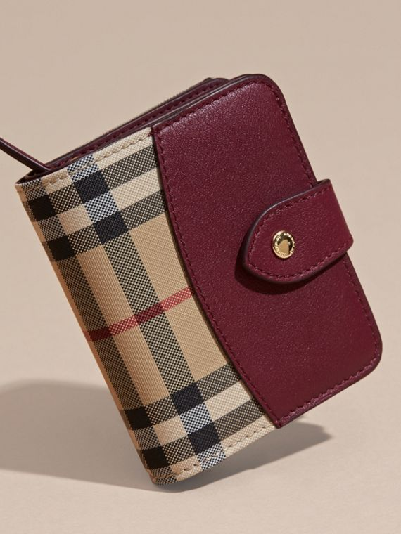 Dark plum Horseferry Check and Leather Wallet Dark Plum - cell image 2