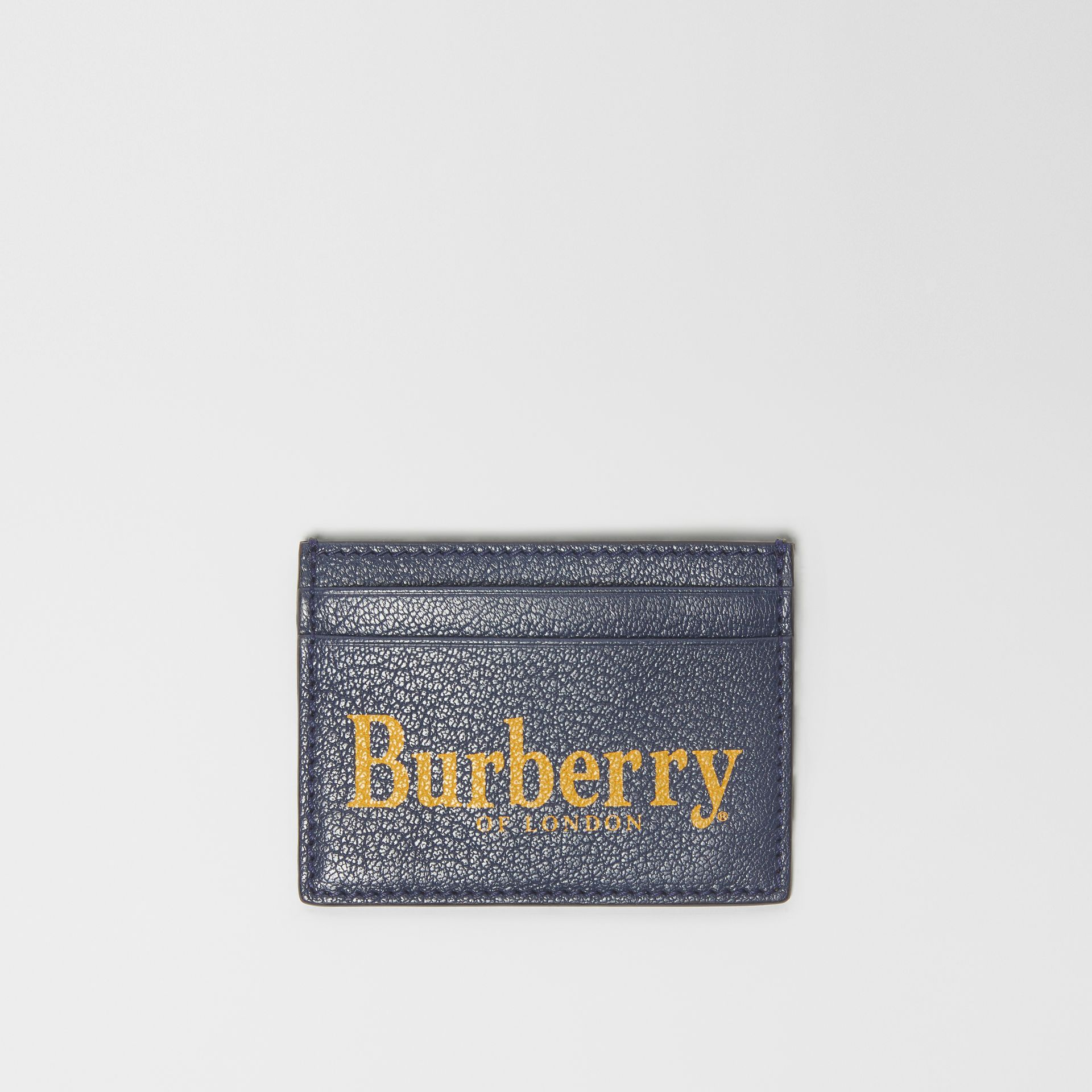 Logo Print Leather Card Case in Storm Blue/antique Green | Burberry - gallery image 0