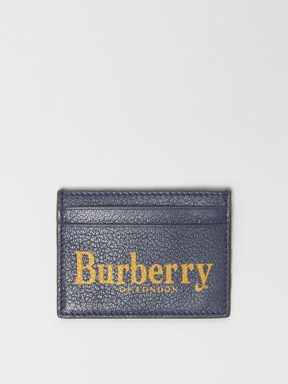 Logo Print Leather Card Case in Storm Blue/antique Green
