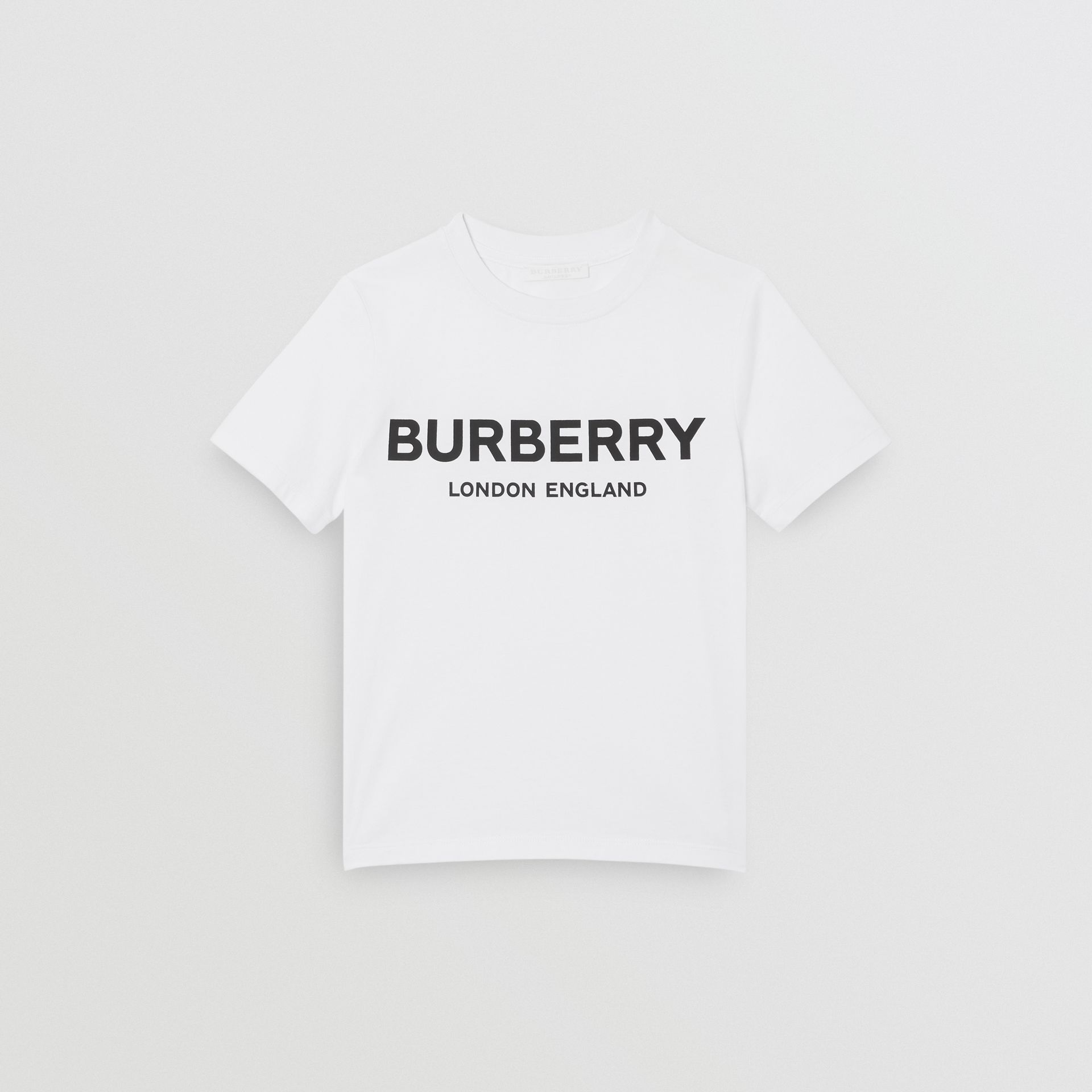 Logo Print Cotton T-shirt in White | Burberry Australia - gallery image 0