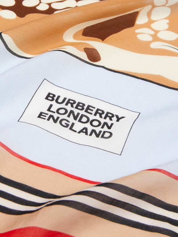Deer Motif Cotton Silk Square Scarf in Pale Blue - Children | Burberry United Kingdom - cell image 1