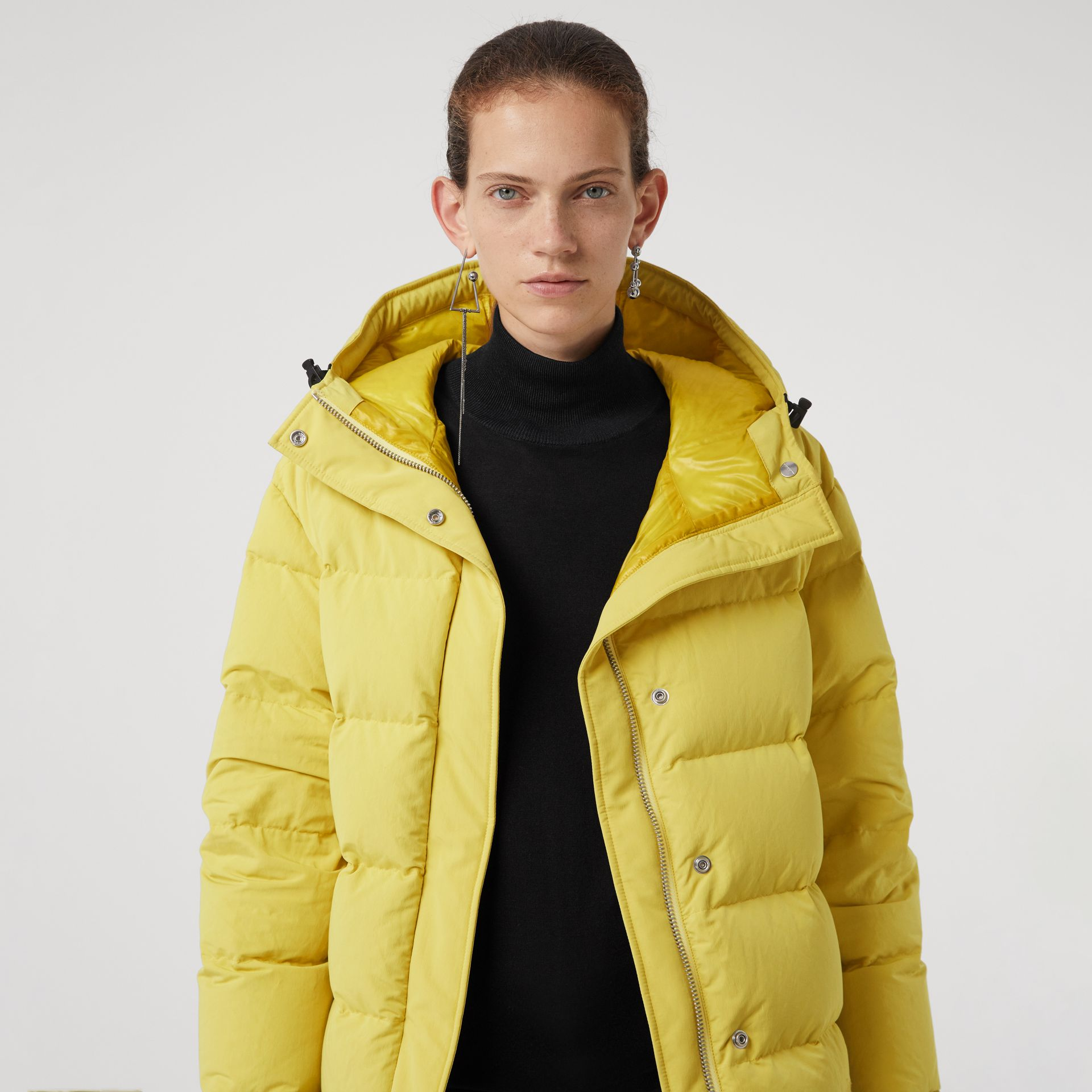 Archive Logo Down-filled Hooded Puffer Jacket in Dandelion - Women | Burberry Australia - gallery image 1